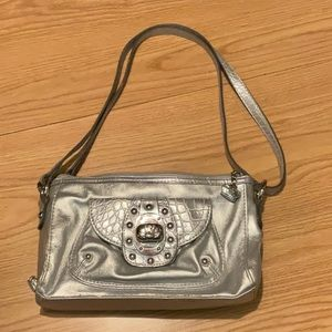 Kathy Van Zeeland silver shoulder bag